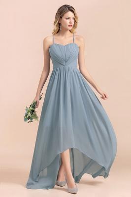Dusty Blau Brautjungfernkleider Lang Chiffon | Hochzeitspartykleider günstig_6