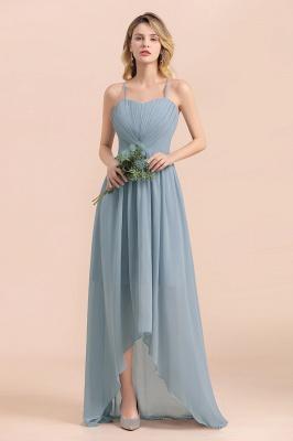 Dusty Blau Brautjungfernkleider Lang Chiffon | Hochzeitspartykleider günstig_4