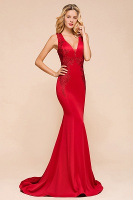 Abendkleid Rot Lang Günstig | Schlichte Abendmoden Abiballkleider_4