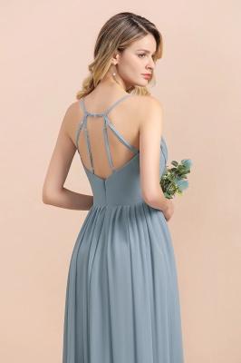 Dusty Blau Brautjungfernkleider Lang Chiffon | Hochzeitspartykleider günstig_5