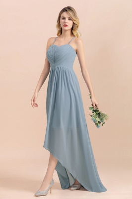 Dusty Blau Brautjungfernkleider Lang Chiffon | Hochzeitspartykleider günstig_8