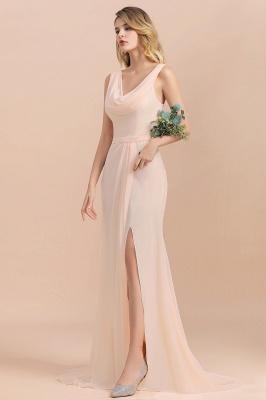 Champagne Brautjungfernkleider Günstig | Brautjungfernkleid Lang Chiffon_8