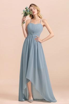 Dusty Blau Brautjungfernkleider Lang Chiffon | Hochzeitspartykleider günstig_1