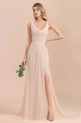 Champagne Brautjungfernkleider Günstig | Brautjungfernkleid Lang Chiffon_1