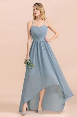 Dusty Blau Brautjungfernkleider Lang Chiffon | Hochzeitspartykleider günstig_9