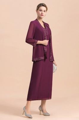 Grape Brautmutterkleider mit Jacket | Chiffon Kleider Brautmutter Suit_4