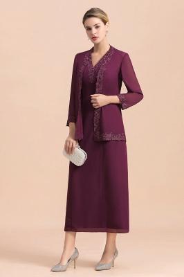 Grape Brautmutterkleider mit Jacket | Chiffon Kleider Brautmutter Suit_8