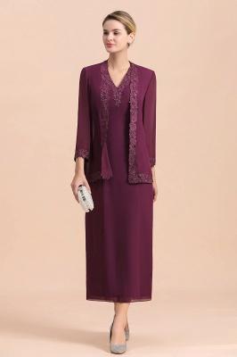 Grape Brautmutterkleider mit Jacket | Chiffon Kleider Brautmutter Suit_6