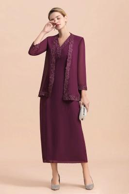 Grape Brautmutterkleider mit Jacket | Chiffon Kleider Brautmutter Suit_5