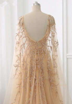 Schöne Abendkleider Gold | Abiballkleider mit Ärmel_3