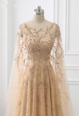 Schöne Abendkleider Gold | Abiballkleider mit Ärmel_2