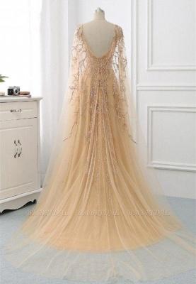 Schöne Abendkleider Gold | Abiballkleider mit Ärmel_4