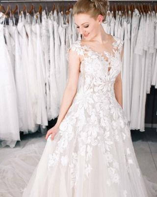 Spitze Hochzeitskleider A Linie   Brautkleider Online_2