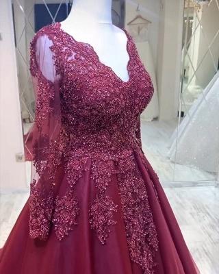 Rote Brautkleider Mit Ärmel | Spitze Hochzeitskleider A Linie_3