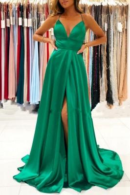 Schlichte Abendkleider Lang Grün | Abendmoden Online_1
