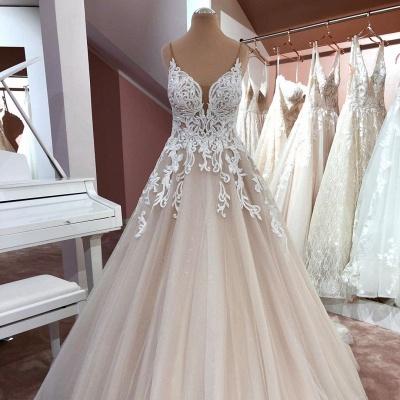 Schöne Hochzeitskleider A Linie | Brautkleider mit Spitze_2
