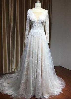 Designer Brautkleid A Linie | Spitze Hochzeitskleider mit Ärmel_3
