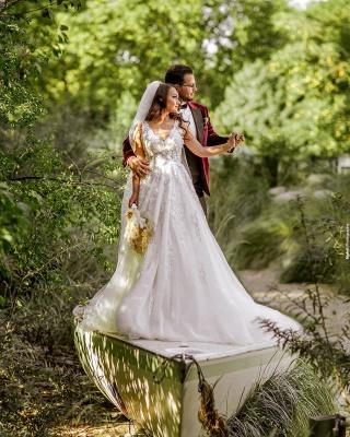 Elegante Hochzeitskleider A Linie Spitze   Brautkleider Günstig Kaufen_3