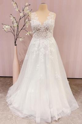Schlichtes Brautkleid V Ausschnitt | Hochzeitskleider A Linie Spitze_1