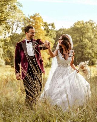 Elegante Hochzeitskleider A Linie Spitze   Brautkleider Günstig Kaufen_4