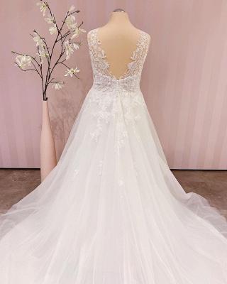 Schlichtes Brautkleid V Ausschnitt | Hochzeitskleider A Linie Spitze_3