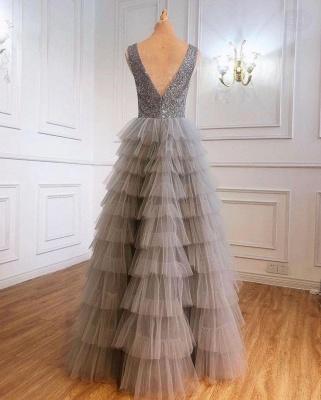 Silber Abendkleid Lang v Ausschnitt | Abiballkleider mit Glitzer_2