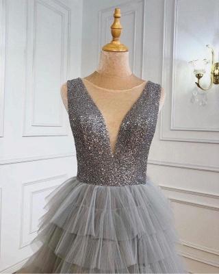 Silber Abendkleid Lang v Ausschnitt | Abiballkleider mit Glitzer_3