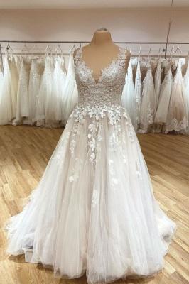 Schlichtes Brautkleid V Ausschnitt | Hochzeitskleider A Linie Spitze