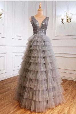 Silber Abendkleid Lang v Ausschnitt | Abiballkleider mit Glitzer