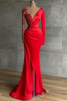 Rote Abiballkleider Mit Ärmel | Abendkleider Lang Günstig