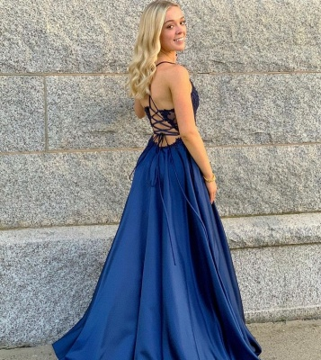 Schlichte Abendkleider Lang Blau | Abendmoden Mit Spitze_3