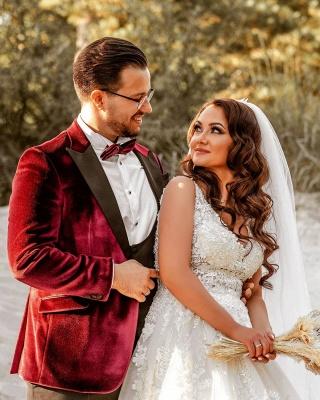Elegante Hochzeitskleider A Linie Spitze   Brautkleider Günstig Kaufen_6