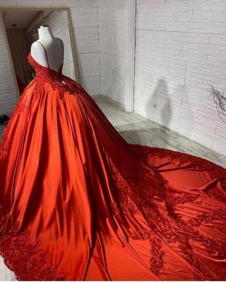 Rote Brautkleider Prinzessin | Hochzeitskleider mit Spitze_2