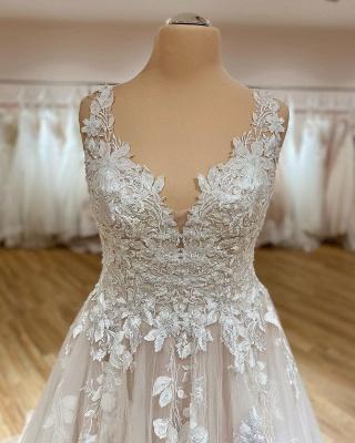 Schlichtes Brautkleid V Ausschnitt | Hochzeitskleider A Linie Spitze_2