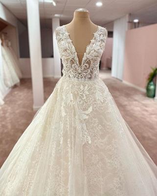 Designer Brautkleider A Linie Spitze | Wunderschöne Hochzeitskleider Online_2