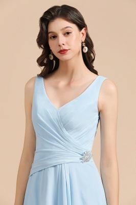 Brautjungfernkleider Heller Blau   Günstiges Brautjungfernkleid Lang Chiffon_8