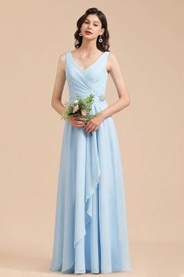 Brautjungfernkleider Heller Blau   Günstiges Brautjungfernkleid Lang Chiffon_4