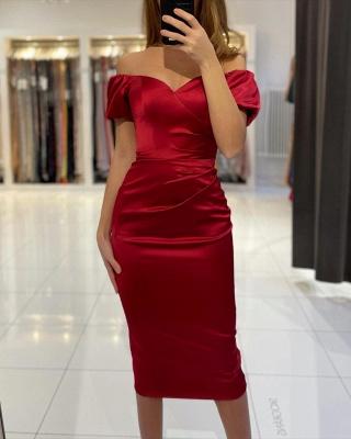 Rote Cocktailkleider Kurz | Schlichtes Abendkleid Abiballkleider_2