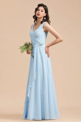 Brautjungfernkleider Heller Blau   Günstiges Brautjungfernkleid Lang Chiffon_5