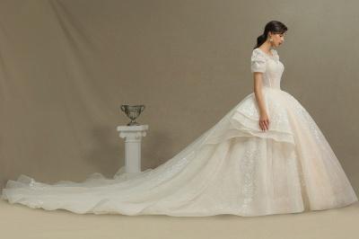 Schöne Brautkleider Mit Ärmel | Prinzessin Hochzeitskleider mit Spitze_4