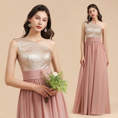 Brautjungfernkleider Lang Altrosa | Abendkleid mit Glitzer_10