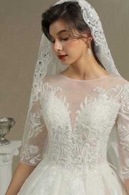 Designer Hochzeitskleider A Linie | Bruatkleider Spitzeärmel_8