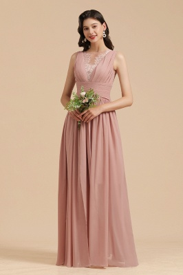 Schöne Brautjungfernkleider Altrosa   Hochzeitspartykleider Chiffon_1