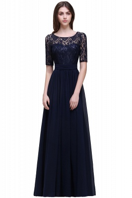 Blaue Abendkleider Lang Günstig | Abiballkleider mit Ärmel_6