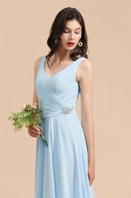 Brautjungfernkleider Heller Blau   Günstiges Brautjungfernkleid Lang Chiffon_7
