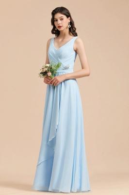 Brautjungfernkleider Heller Blau   Günstiges Brautjungfernkleid Lang Chiffon_6
