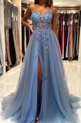Luxus Abendkleider Lang Glitzer | Blau Abiballkleider Abendmoden
