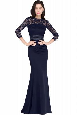 Schlichtes Abendkleid Lang Schwarz   Abiballkleider mit Ärmel_4