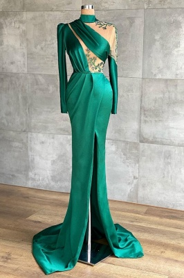 Grüne Abiballkleider Günstig | Abendkleider Lang Mit Ärmel_1
