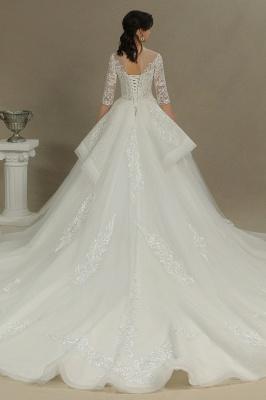 Designer Hochzeitskleider A Linie | Bruatkleider Spitzeärmel_5